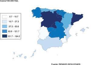 Situación de la COVID-19 en España según la incidencia acumulada en los últimos 14 días por Comunidad Autónoma a fecha 27 de abril de 2020. Fuente: RENAVE.ISCIII-CCAES.