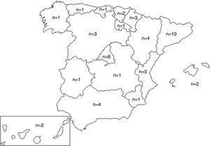 Mapa de España con las comunidades representadas en el estudio y el número de centros participantes por comunidad.