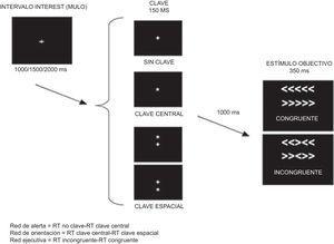 Ejemplo de una de las modalidades del ANT RT: Tiempo de reacción. Adaptada de Vázquez-Marrufo et al.17.