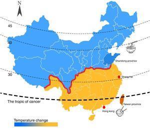 Mapa climático de China, relación con los hábitos alimenticios (pasta en el norte y arroz en el sur). Las cuatro áreas donde se han realizado estudios epidemiológicos en EM.