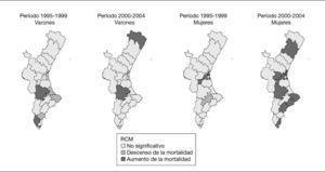 Evolución temporal de la mortalidad por cáncer de tráquea, bronquios y pulmón en cada departamento de salud de la Comunidad Valenciana por sexos. Períodos 1995-1999 y 2000-2004 (período de referencia: 1990-1994).