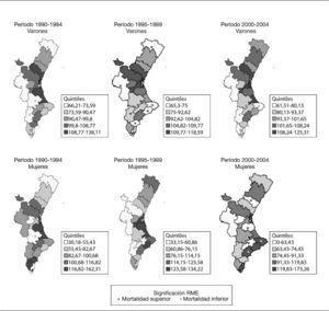 Distribución geográfica de la mortalidad por cáncer de tráquea, bronquios y pulmón por departamentos de salud de la Comunidad Valenciana y sexo. Períodos 1990-1994, 1995-1999 y 2000-2004 (período de referencia: 1990-1994).