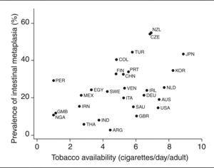 Prevalence of intestinal metaplasia in Helicobacter pylori-infected subjects as a function of tobacco availability.