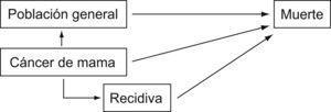 Modelo de estudio. A partir de las características de la población en estudio se reconstruye la supervivencia esperada en condiciones normales.