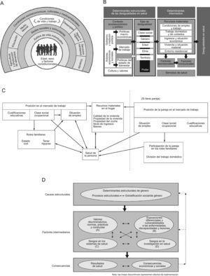 Modelos conceptuales. A: Determinantes de la salud de Dalghren y Whitehead (1991)7. B: Determinantes sociales de las desigualdades en salud de la Comisión para Reducir las Desigualdades en Salud en España (2010)8. C: Factores que influyen en la salud de la mujer, según Arber (1997)12. D: Rol del género como determinante social de la salud, Comisión de Determinantes Sociales de la Salud de la Organización Mundial de la Salud (Sen y Östlin, 2007)13.