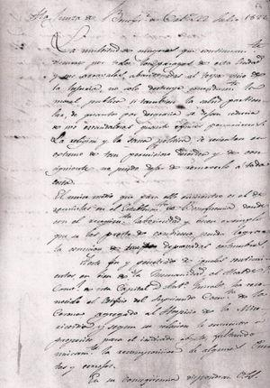 Carta a la Junta de Beneficencia, de 22 de julio de 1822.