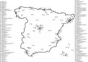 Poblaciones españolas en las que se ha determinado el contenido en flúor de las aguas de consumo público. Concentración media de flúor entre paréntesis (*): <0,3mg/l; (**): 0,3-0,7mg/l; (***): >0,7mg/l.