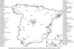 Municipios españoles donde se ha determinado el contenido en nitratos de las aguas de consumo público (2012).