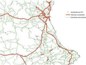 Ejemplo de la distribución espacial de los accidentes de tráfico.