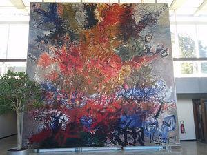 """The """"big painting"""", representación alegórica de las diferentes razas y culturas de los trabajadores que integran la OMS."""