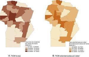 Distribución espacial de las tasas de incidencia de cáncer de mama por 100.000 mujeres. Córdoba, Argentina, 2010.