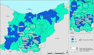 Mapa de fluoración en el área de estudio INMA-Gipuzkoa.