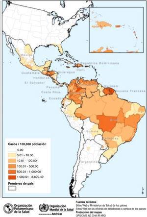 Países/territorios de las Américas que han registrado casos autóctonos de infección por el virus Zika. Fuente OPS/OMS (actualización 8 septiembre de 2016).