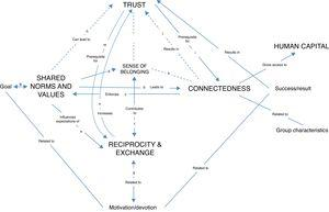 Observed connections between the studied sub-constructs of social capital: shared norms and values, connectedness, reciprocity and exchange, and trust.