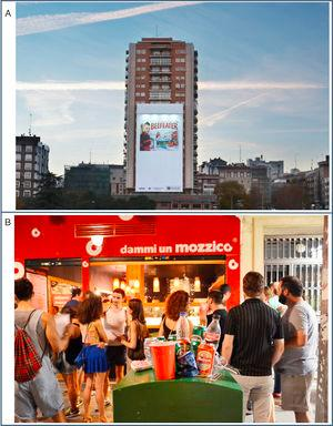 Promotion and signs of alcohol consumption in public spaces, beyond the alcohol retail outlets. A) Although advertising of spirits is prohibited in parts of Spain on public roads, advertisement and sponsorship are frequently used on public spaces. This promotional item covers a whole building and can be perceived from afar. B) The high visibility of alcohol use in the street in terms of people consuming alcohol, the presence of discarded bottles or other containers in the public space indicates the acceptability of alcohol, and suggests poor enforcement of existing alcohol related regulations.