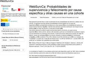 Página web donde se realiza la solicitud de cálculo de las probabilidades de supervivencia y fallecimiento por causa específica y otras causas. Disponible en: https://shiny.snpstats.net/WebSurvCa