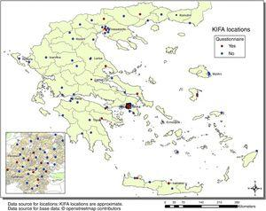 Solidarity clinics in Greece (n = 92). The map includes all reported functioning solidarity clinics in 2014 irrespective of size. In red the 19 solidarity clinics responding to the questionnaire. (KIFA [KIΦA]: acronym in Greek for Kοινωνικ?? Iατρ????α Φαρμακ????α Aλληλ??γγ??ηζ.).