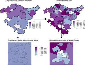 Proporción estimada de hombres sedentarios por organización sanitaria integrada y por zona básica de salud en Euskadi. 2013.