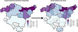 Prevalencia estimada de bronquitis en mujeres por organización sanitaria integrada y por zona básica de salud en Euskadi. 2013.