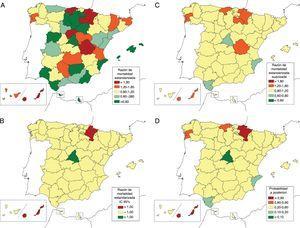 Variabilidad provincial de la mortalidad atribuida a telangiectasia hemorrágica hereditaria en España para ambos sexos (1981-2016). A) Razón de mortalidad estandarizada (RME). B) Intervalo de confianza del 95% (IC95%) de la RME, valores significativamente por encima o por debajo de lo esperado para el total nacional. C) RME suavizadas. D) Probabilidad a posteriori (PP) de las RME suavizadas.