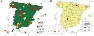 Variabilidad comarcal de la mortalidad por telangiectasia hemorrágica hereditaria en España para ambos sexos (1999-2016). A) Razón de mortalidad estandarizada (RME). B) Intervalo de confianza del 95% (IC95%) de la RME, valores significativamente por encima o por debajo de lo esperado para el total nacional. Nota: no se muestran los mapas de RME suavizados por comarcas por no aportar resultados significativos.