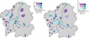 Relación entre el consumo de riesgo (izquierda) y el consumo intensivo (derecha) y la población en los diferentes municipios.