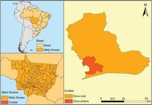 Localización geográfica del área de estudio. Cuiabá, Mato Grosso, Brasil.