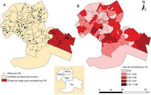 A) Distribución espacial de los casos de muerte y área de riesgo para la mortalidad por tuberculosis. B) Distribución espacial de las tasas de mortalidad por tuberculosis en Cuiabá, Mato Grosso, Brasil (2006-2016). TB: tuberculosis.