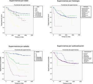 Supervivencia de los casos diagnosticados de cáncer de cuello uterino en Mallorca entre 2006-2012 según la edad, la histología, el estadio y la sublocalización.