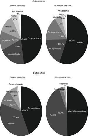 Distribución porcentual del lugar de ocurrencia de los ahogamientos y otras asfixias en México durante el periodo 1999-2017. Fuente: INEGI. Bases de datos de mortalidad para el periodo 1999 a 2016.