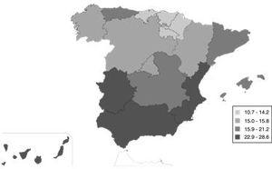Distribution of unemployment in Spain's autonomous regions according to quartiles of the 2010 unemployment rate. Data source: National Institute of Statistics, Spain.