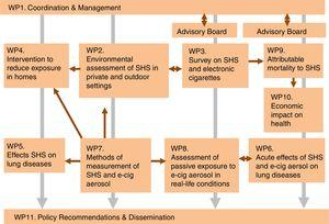 TackSHS project structure and organisation of the work packages (WPs). SHS: Secondhand smoke; e-cig: electronic cigarettes.