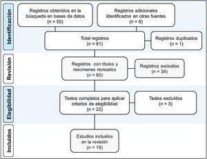 Diagrama de flujo PRISMA adaptado del proceso de revisión sistemática bibliográfica realizado y sus resultados20.