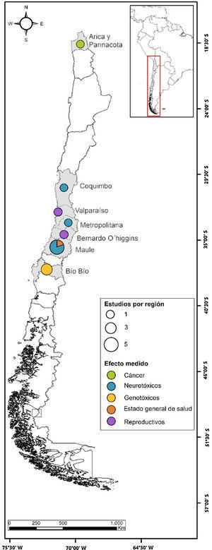 Distribución geográfica de las áreas con investigación epidemiológica en Chile.