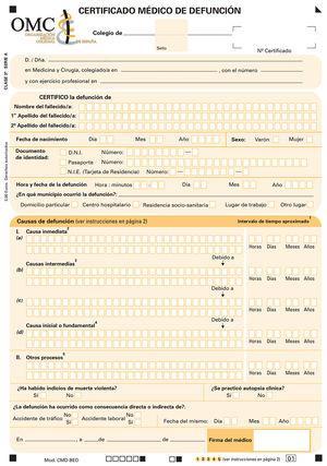 Certificado médico de defunción.