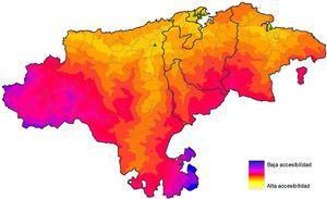 Análisis espacial: accesibilidad a las unidades de salud mental de Cantabria en 2009.