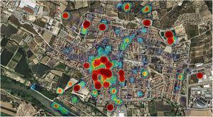 Distribución de activos en salud según el mapa de calor en el núcleo urbano de Torroella de Montgrí (2018).