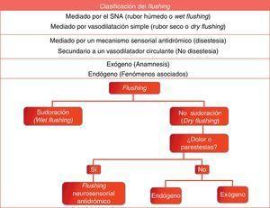 Clasificación del flushing según los mecanismos fisiopatológicos.