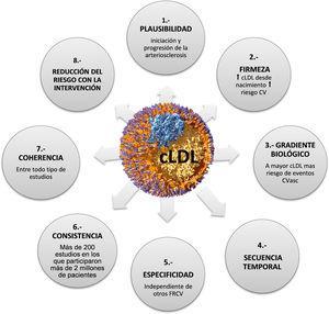 Criterios de causalidad: lipoproteínas de baja densidad (LDL) y arteriosclerosis. Adaptada de Ference et al.2.