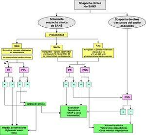 Algoritmo de actuación ante la sospecha SAHS. PR: poligrafía respiratoria (ya sea a domicilio o en el hospital). PSG: polisomnografía convencional.