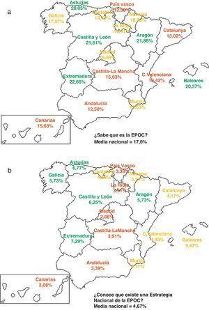 Mapa por comunidades autónomas del a) conocimiento de qué es la EPOC, y b) conocimiento que existe una Estrategia Nacional de la EPOC.