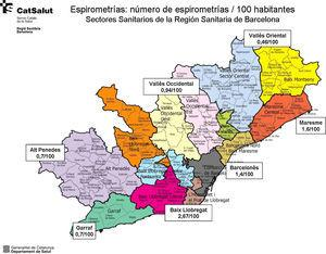 Tasas de espirometrías por 100 habitantes en la región sanitaria de Barcelona.