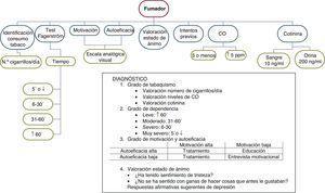 Algoritmo del diagnóstico del tabaquismo en fumadores con EPOC previamente diagnosticada.