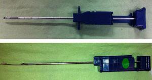 Aguja de biopsia pleural Tru-cut. Instrumento delgado que consta en su parte distal de una muesca cortante que permite obtener una muestra de tejido (imagen inferior).