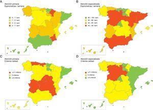 Distribución del número de espirometrías por semana (A-B) y de la cumplimentación de los criterios de calidad (C-D) en AP (A-C) y AE (B-D).