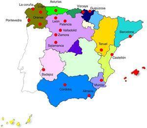 Provincias en las que se han diagnosticado nuevos casos de silicosis (año 2012).