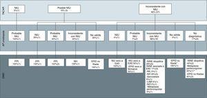 Diagnósticos finales del comité multidisciplinar en base a las imágenes radiológicas, clasificadas según las recomendaciones de las guías de la ATS/ERS de la fibrosis pulmonar idiopática en neumonía intersticial usual (NIU), posible NIU e inconsistente con NIU, y los resultados anatomopatológicos de las muestras realizadas con criobiopsia. AP: anatomía patológica; DMD: diagnóstico del comité multidisciplinar; EAS: enfermedad autoinmune sistémica; EPID: enfermedad pulmonar intersticial difusa; FPI: fibrosis pulmonar idiopática; LAM: linfangioleiomiomatosis; NH: neumonitis por hipersensibilidad; NIL: neumonía intersticial linfocitaria; NINE: neumonía intersticial no específica; NIU: neumonía intersticial usual; NO: neumonía organizativa; TACAR: tomografía computarizada de alta resolución. * Por las imágenes radiológicas, la sospecha diagnóstica era de NO. ** El diagnóstico final de metaplasia peribronquiolar se realizó mediante BPQ.