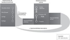 Circuito de retroalimentación neurológica de la tos crónica. Adaptada de Pacheco13.