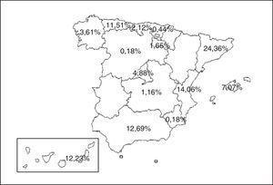 Mapa con las Comunidades Autónomas participantes y porcentaje de pacientes de cada Comunidad.