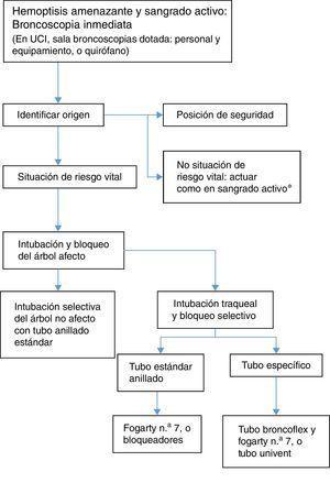 Algoritmo de broncoscopia en la hemoptisis amenazante.